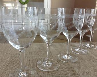 Vintage Stemware GORGEOUS Set of 7 Wine glasses etched dot swag and starburst