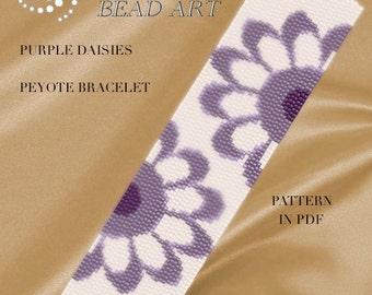 Peyote Pattern for bracelet - Purple daisies flowery peyote bracelet cuff pattern in PDF - instant download