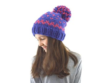 READY TO SHIP Chunky Fair Isle Nordic Style Knit Pom Pom Hat Beanie Toque | The Dores