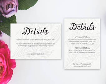 Wedding Details Template, Wedding Details Card Printable, Modern Palm Grey enclosure, DIY Instant Download