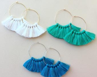 51 Tassel Colors/ Lightweight/ Mini Tassel/ 1.75 inch Hoop/ Gold Hoop/ Rose Gold Hoop/ Silver Hoop/ Tassel Earring/ Hoop Earring