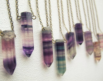Fluorite necklace etsy rainbow fluorite necklace bohemian gemstone necklace boho crystal pendant crystal point necklace fluorite pendant fluorite jewelry aloadofball Images