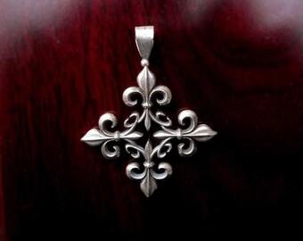 Sterling Silver Fleur-de-Lys Cross