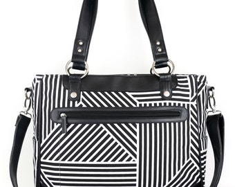 Laptop Camera Bag - Black and White Lines - Laptop Tote - Womens Laptop Satchel - Canvas and Vegan Leather