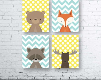 WOODLAND Chevron Polka Dot Animals Wall Art Print-Set of Four (4) - Digital Download. Woodland Creatures Wall Art Printable. Forest Friends