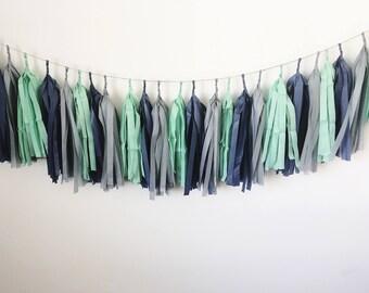 Mint, Grey & Navy Blue - Tissue Paper Tassel Garland/Pom Tassels/Party Garland/Party Tassels/Paper Banner/Party Decor/Balloon Tassels