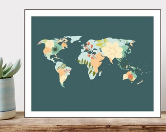 PRINTABLE Art Typography Art Print Floral World Map Art Print World Map Printable Travel Wall Art Tropical map Instant Download 8x10