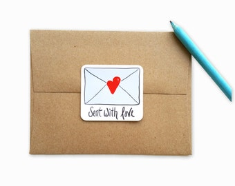 Sent with Love Envelope Seals - Red - Love Stickers - Heart Stickers -