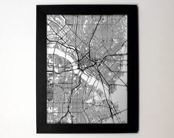 Dallas Map, Laser Cut Map, Dallas Texas, Map of Dallas, Dallas Wall Art, Wedding Gift, Anniversary Gift, Dallas Gift, Dallas Street Map, TX