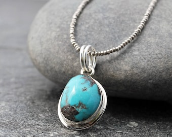 """bisbee turquoise necklace w/ sterling silver, american turquoise, hill tribe silver, seed beads, 16"""", Leo, Scorpio, Capricorn, Pisces, rare"""