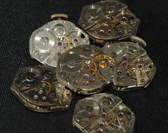 Vintage Watch Movements Parts Steampunk Altered Art Assemblage RT 74