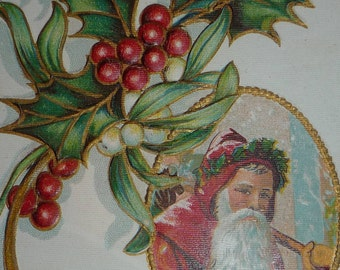 Santa Claus Vignette With Holly Antique Christmas Postcard