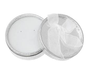 60 Luxurious gift boxes, silver, round 8.5 cm