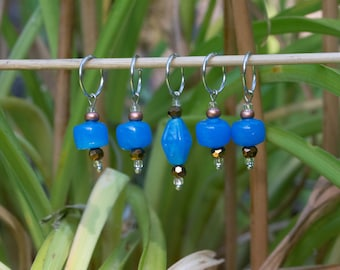 turquoise color with light brown Czech and glass beads - stitch markers