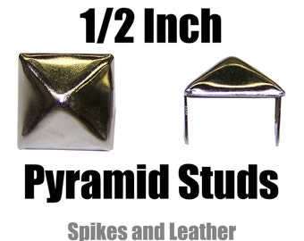 Made in U.S.A. 100 PY/77 Square Pyramid Studs Silver/Chrome Spikes Spots Tack Nailheads Standard Large Pyramid studs Nickel Plated