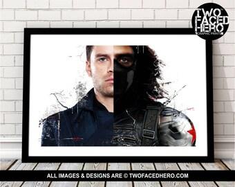Winter Soldier Bucky Barnes Art Print, Marvel Superhero Inspired, Avengers Art, Civil War, Steve Rogers, Stucky, Ready to Comply, Landscape