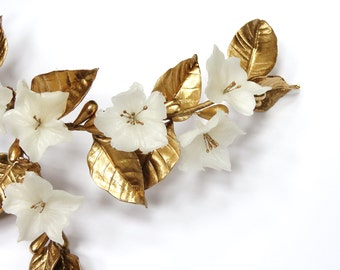 Golden bridal fascinator - White bridal headpiece - flower bridal hair comb - golden bridal comb