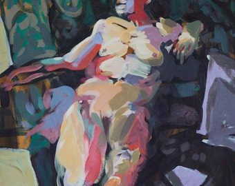 Figurative painting - Thursday Night with Mary