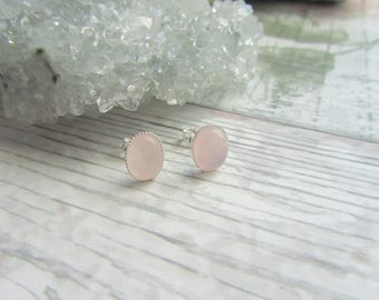 Natural Rose Quartz Stud Earrings - 925 Sterling Silver Gemstone Jewellery - Pink Earstuds