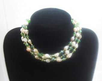 "48"" - Wonderful, Baroque, Freshwater Pearls and Crystal, Beaded Necklace, 48 inches"
