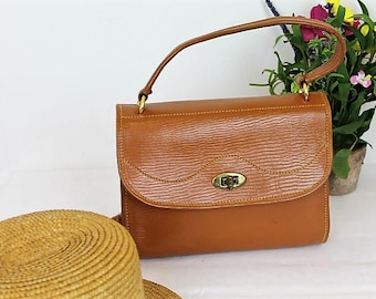 Vintage Satchel Handbag/Tan Leather Handbag/Leather Satchel Handbag/SALE/ Ref10073