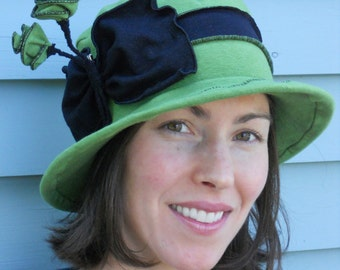 Ladies Jersey Hat - Organic Fabric - Edwardian Mary Poppins Style - Avocado Green - Mary