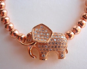 1 LINK, Cubic Zirconia (CZ) Elephant Brass Link, Jewelry Making Supply, Rose Gold, Red Eye and clear CZ in body