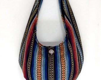 Handmade Woven Bag Purse Tote bag Women bag Thai Cotton Bag Hippie bag Hobo bag Boho bag Shoulder bag Elephant button Short Strap (WF8)
