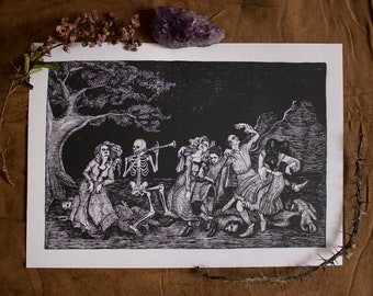 The Macabre Dance [42 x 29,7 PRINT of an original painting by Caroline Murta ]