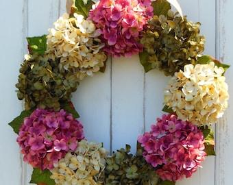 Hydrangea Wreath, Front Door Wreaths, Summer Wreath, Spring Wreath, Pink Hydrangea, Mothers Day Wreath, Summer Hydrangeas, Wreaths Hydrangea