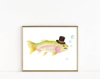 Rainbow Trout Watercolor, Fish Watercolor, Rainbow Trout Art Print, Fish Art, Fish Painting, Gift for Him, Gift for Dad, Fisherman Gift