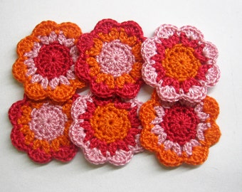 Handmade cotton flower appliques in red, pink and orange 2 inches wide set of 6