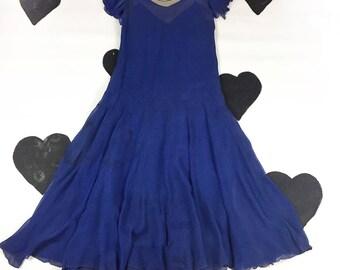 1920's blue silk chiffon flapper dress 20's fluttery delicate antique drop waist ruffled illusion party dress / Great Gatsby /  gown / S M