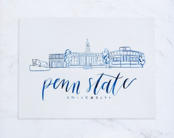 Penn State, Handmade Watercolor Campus Painting, Penn State Painting, Penn State Decor, Nittany Lion, College Graduation Gift