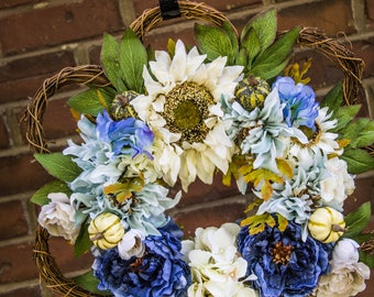 Fall Wreath/ Peonies/ Rustic/ Farmhouse/ Door/ Front Door/ Sunflower, Peony and Hydrangea Blue Wreath