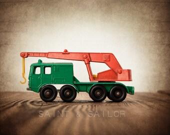 Vintage Green and Orange Crane  on Wood Photo Print,  Wall Decor, Playroom decor,  Kids Room, Nursery Ideas, Gift Ideas,