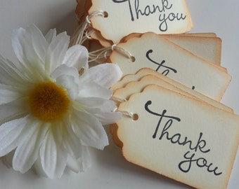 Thank you gift tags, Favor tags, Thank you tags, Thank you favor tags, Vintage style tags, Set of 25 or 100