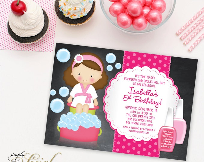 Kid's Spa Birthday Party Invitation Manicure Pedicure Nail Polish Chalkboard Printable