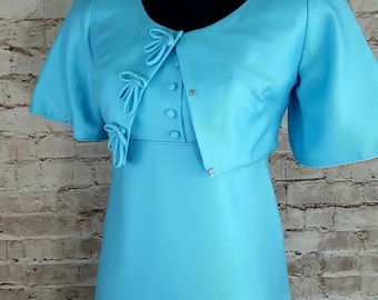 EMMA DOMB California Gown with Jacket 1960's Aquamarine Extra Small