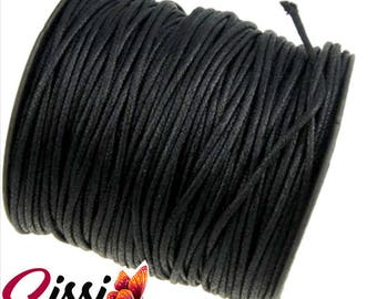 LOT 5 meter wire LARGE BLACK jewel Pearl BEAD SISSI SCRAP 2mm black WAXED cotton cord