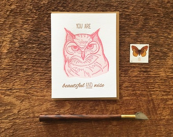 Wise Owl, Beautiful and Wise, Friendship Card, Letterpress Note Card, Blank Inside