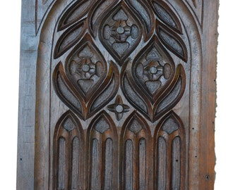 French Black Forest Gothic Carved Walnut Wooden Panel Picture - Architectural Wood Salvage - Shabby Chic Home Decor