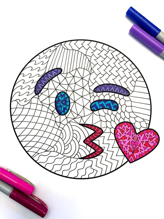 Kiss Emoji PDF Zentangle Coloring