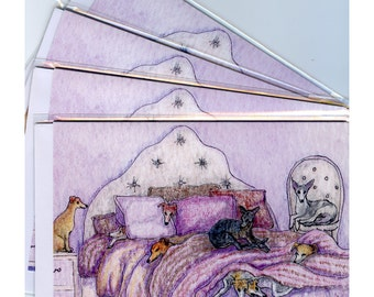 4 x whippet greyhound lurcher dog greeting cards - on the bed