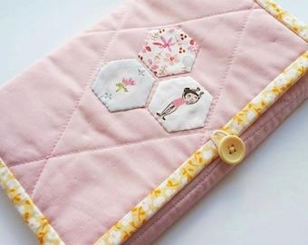 Knitting Needle Storage Folio - Baby Pink/Yellow/Blue - Floral/Ballerinas/Cute- Heather Ross/Amy Sinibaldi Fabrics