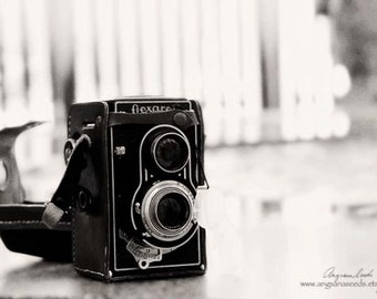 Vintage Camera photos, Twin-lens reflex camera photos, black and white photograph, antique camera picture, 8x12 wall art, Valentines day