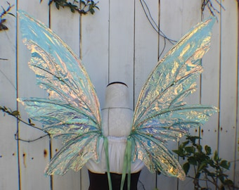 Custom Large Green Iridescent 6 Wing Woodland Fairy Wings
