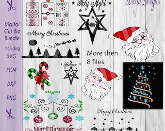 Christmas svg bundle, Santa svg, Candles svg, Nativity svg, Ornaments svg, Christmas silhouette, cricut file, scanncut, glass block svg,