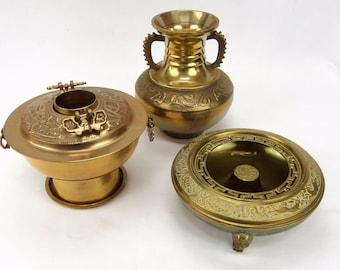 Vintage Chinese Japanese Brass Incense Burners & Handled Vase Rabbit