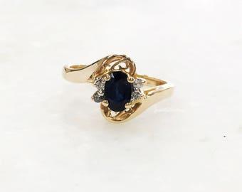 Vintage 14k Solid Yellow Gold Sapphire Diamond Ring Engagement Proposal Ring Filigree Gold Diamond Sapphire Ring